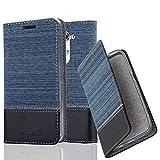 Cadorabo Hülle für LG G3 Mini / G3S - Hülle in DUNKEL BLAU SCHWARZ – Handyhülle mit Standfunktion und Kartenfach im Stoff Design - Case Cover Schutzhülle Etui Tasche Book
