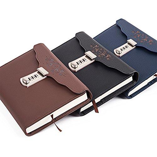 Ya Jin Leder Business Tagebuch Secret Diary Notebook mit Lock Passwort codiert, B6Größe coffee