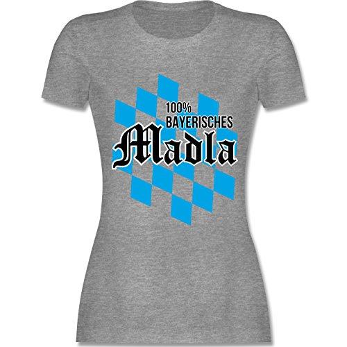 Bayern Frauen - 100 % bayerisches Madla - L191 tailliertes Damen Frauen T-Shirt Grau Meliert