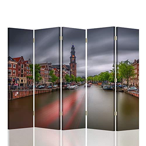 Feeby Biombo Opaco Lienzo Amsterdam 5 Paneles Bilateral Río Paisaje M