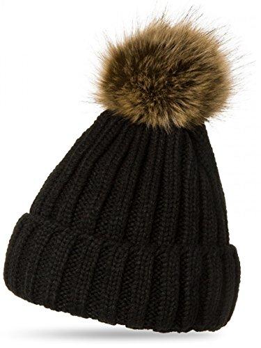 c400b9ce448e37 CASPAR MU054 Damen Winter Mütze/Strickmütze mit großem Fellbommel,  Farbe:schwarz