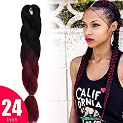 "Ombre Jumbo Braiding Hair (1 Piece) 24"" Afro Twist Braiding Hair Extensions For Women (Blackruby)"