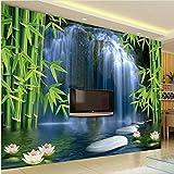 Bambù Foresta Cascata Loto Foto Wallpaper Murales 3D Soggiorno Tv Sfondo Per Pareti 3D