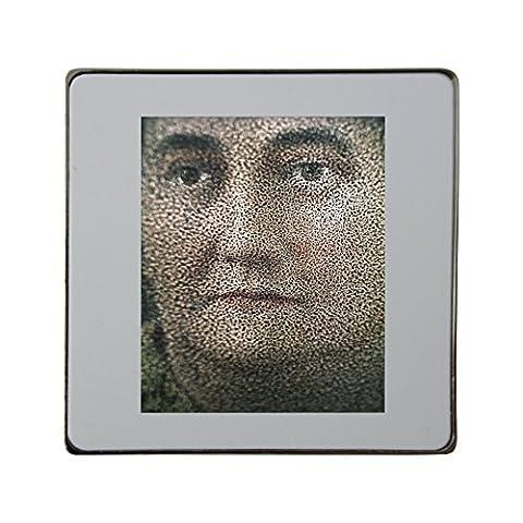 Fuzzy portrait of a woman metal square fridge magnet