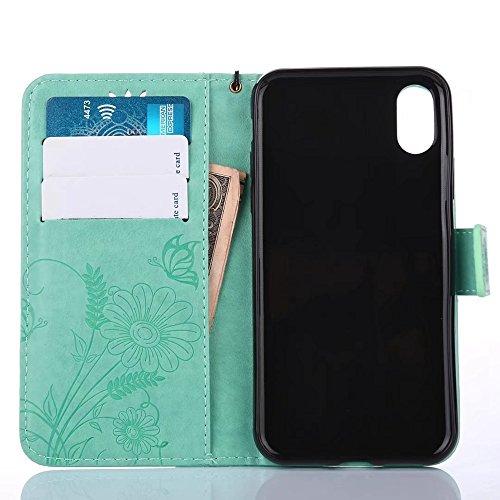 GR Horizontale Flip Stand Case Geldbörse Geldbörse mit Lanyard & Soft TPU Cover & Card Slots für iPhone X ( Color : Rosegold ) Green