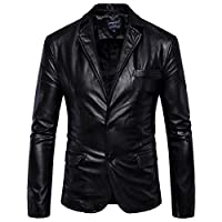 Elonglin Mens Blazer Moto Jacket Faux Leather Motorcycle Biker Jacket Coat Buttoned Classic Collar Keep Warm Autumn Winter Black Size UK M (Asian XL)