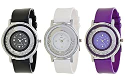 RJL Analogue Round Dial Stylish Fancy Watch 339 Black White Blue Pack of 3