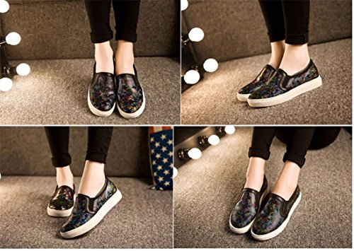 La Mode Des Femmes Plate-Forme En Cuir Chaussures Plates Du Conseil Occasionnels Glissement Decontracte Sur Les Mocassins camouflage