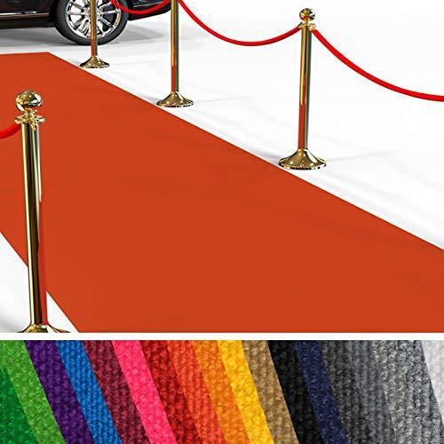 etm Hochwertiger Messeteppich Meterware | Rollteppich VIP Eventteppich, Hollywood Läufer, Hochzeitsteppich | 18 Farben in 23 Größen | Orange - 100x250 cm