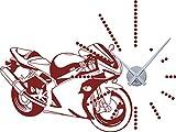 GRAZDesign 800092_SI_030 Wandtattoo Uhr Wanduhr mit Uhrwerk für Wohnzimmer Motorrad Straßenmaschine Bike (76x57cm//030 Dunkelrot//Uhrwerk Silber)