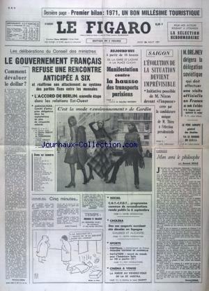 FIGARO (LE) [No 8381] du 26/08/1971