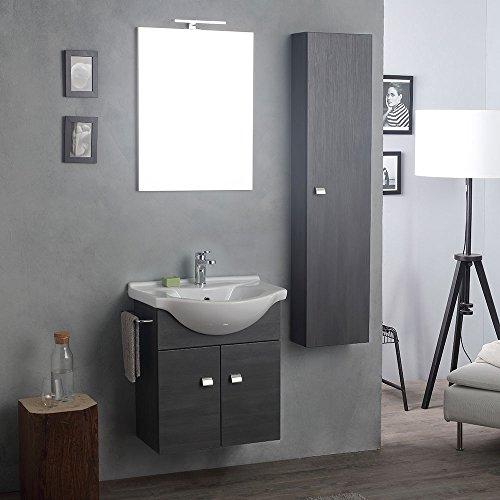 Mobile-lavabo con specchio e luce a led + colonna rovere scuro