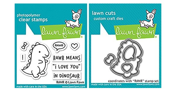 Set of 2 Items Lawn Fawn RAWR Clear Stamps and Dies Bundle LF1555 LF1556