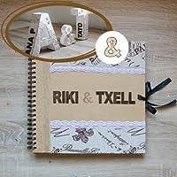 Kit 3 letras decoradas y libro de firmas, estilo vintage-rústico para bodas.