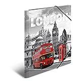 Herma 7264 Sammelmappe DIN A4 Kunststoff, Motiv England London, Serie Städte, Eckspanner, 1 Zeichenmappe