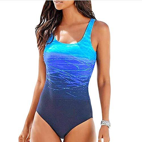 Sweetneed Bañadores de Mujer Traje de una Pieza con Relleno Bañador Push up Ropa de Baño Cintura Alta Size Gradiente de Color Cruz Atrás Slim Fit Cuerpo Atractivo Bañera Bikini(M(8-10), Azul)