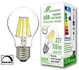 greenandco CRI90+ Glühfaden LED Lampe dimmbar ersetzt 54 Watt E27 Birne, 8W 710 Lumen 2700K warmweiß Filament Fadenlampe 360° 230V AC nur Glas, flimmerfrei, 2 Jahre Garantie