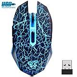 VEGCOO Drahtlose Gaming Maus, Aufladbare Drahtlose geräuschlos Maus vmit Bunte LED-Leuchten und 2400/1600/800 DPI, 1000mAh NI-MH-Akkus Für Laptop und Computer (Schwarz)