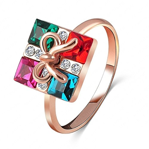 Daesar Vergoldet Ring mit Gravur Damen Verlobungsring Gift Box Form Zirkonia Ring Trauringe Größe:60 - Vergoldet Box Verlobungsring
