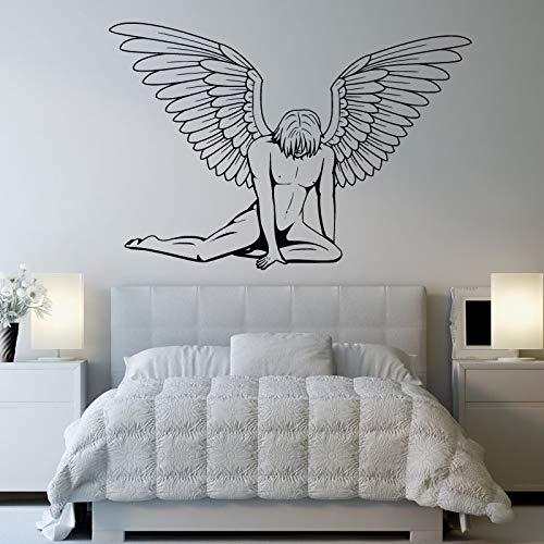 Heiße Verkäufe Ein Mann Mit Flügeln Engel Schlafzimmer Schwarz Wandaufkleber Art Vinyl Removable Home Decoration Wandtattoo Y 81x56 cm