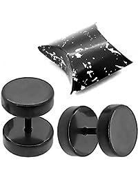 2 Faux Plugs Fake Tunnel Clous d'oreille Fakeplugs Piercing Noir 6 mm +Boîte-cadeau