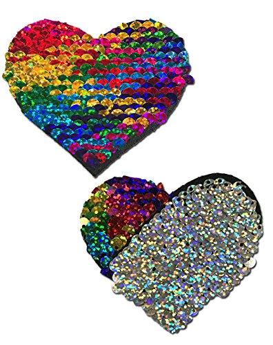 Pastease® Damen Regenbogen und Silber Farbwechsel Pailletten Herz nippel-pasteten (Zusammen Pailletten-kleid)