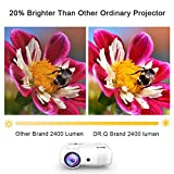 """DR.Q Projector, Video Projector 2400 Lumens, Mini Projector with 170"""" Display, 50000 Hours, Supports 1080P FHD, Connection with TV Stick HDMI VGA USB AV TF Device, with HDMI and AV Cable, White."""