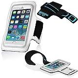 Cadorabo ! Neopren Sport Fitnessstudio Jogging Armband Oberarmtasche für Smartphones mit 4,5 - 5,0 Zoll zb. Iphone 6 , Galaxy S4 und S5 usw. mit Schlüsselfach, Kopfhöreranschluss in weiß