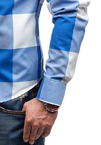 BOLF - Chemise casual – manches longues - à carreaux – BOLF 5799 - Homme Bleu clair