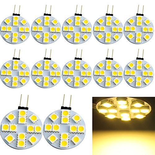 EverBrightt 12-Pack chaud blanc rond G4 5050 12SMD Marine RV lecture Car Led Ampoules bateau éclairage 12V DC