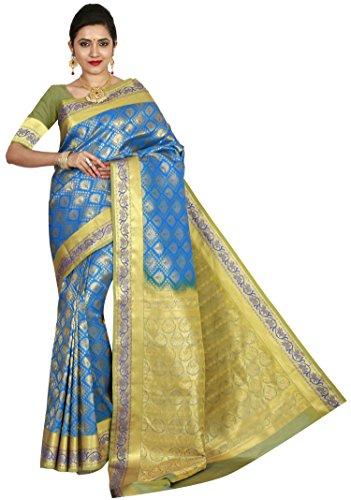 arars Women's Kanchipuram Silk Saree Wedding Bridal Collections (212 MB BLUE)
