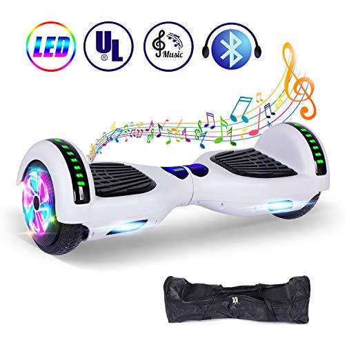 """jolege Hoverboard, 6.5\"""" Smart Elektro Self Balance Scooter für Kinder und Erwachsene, Bluetooth Lautsprecher, 600W Motor Elektro Hover Board E-Skateboard mit kostenloser Tragetasche und Ladegerät"""
