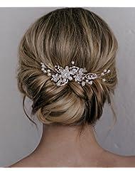 Kercisbeauty Gold Blumen Perlen Hochzeit Deko Kamme Brautschmuck