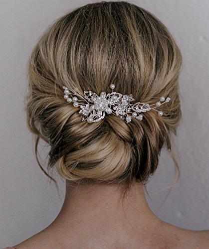 m Clip Pin Strass Perle Hochzeit Haarschmuck für die Braut Brautjungfer, Silber ()