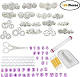 Fondant Ausstechformen Set, Cadrim Kuchen Deko Set 109-Teiliges Kuchen Ausstecher Dekoration Set Backen DIY Stempel Zubehör mit Modellierwerkzeug Set Deko Backset Aufsätze und Backzubehör