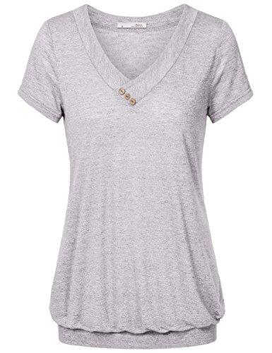 Messic Kurzarm-Tops für Die Frau, Leichte Lose Beiläufige T-Shirt Plissee Solid Color Bluse mit V-Ausschnitt (Grau, L) (Solid-jersey-henley)
