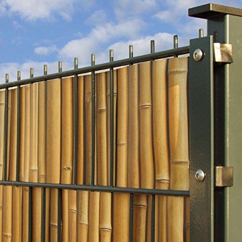 Sichtschutzstreifen mit Motiv/M-Tec Print/PVC / Bambus Motiv ✔ für 9 Reihen im Zaunfeld ✔ für Doppelstabmattenzaun ✔ – Sie KAUFEN Hier DIREKT Beim Hersteller –