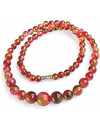 Collare perlas Joya piedra natural Turmalina Mujer Rosa Caye