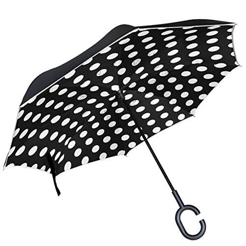 ALAZA (piel), diseño de lunares, color blanco y negro puede paraguas paraguas plegable de doble capa resistente al viento Reverse para coche con mango de laboratorio, Negro