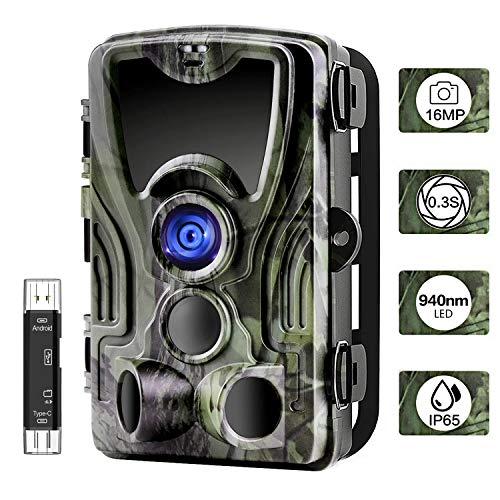 """CARMATE Wildkamera Jagdkamera 1080P Full HD 2.0"""" LCD 16MP Infrarot-Nachtsicht bis zu 22m 0,3 Sekunden Auslösezeit mit 3 PIR Bewegungsmelder 120° Weitwinkel für Jagd, Outdoor-Natur, Garten, Überwachung"""