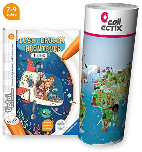 tiptoi Ravensburger Buch für Lese Anfänger - Lese Lausch Abenteuer - Tiefsee + Kinder Wimmel Weltkarte | Für Kinder ab 7 Jahre | Lesen, Lesemotivation, Spiele