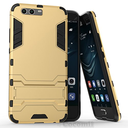 Preisvergleich Produktbild Huawei P10 Hülle, Cocomii Iron Man Armor NEW [Heavy Duty] Premium Tactical Grip Kickstand Shockproof Hard Bumper Shell [Military Defender] Full Body Dual Layer Rugged Cover Case Schutzhülle (Gold)