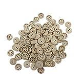 BIGBOBA 100 Holz Knöpfe Nähen Laser Gravur 'mit Liebe' mit 2 Löchern Kleidung Zubehör 15 mm