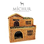 Michur Uncle Tom's Hut beige wicker house cave bed for dogs cats incl. Pillows 10