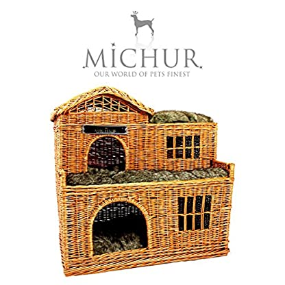 Michur Uncle Tom's Hut beige wicker house cave bed for dogs cats incl. Pillows 2