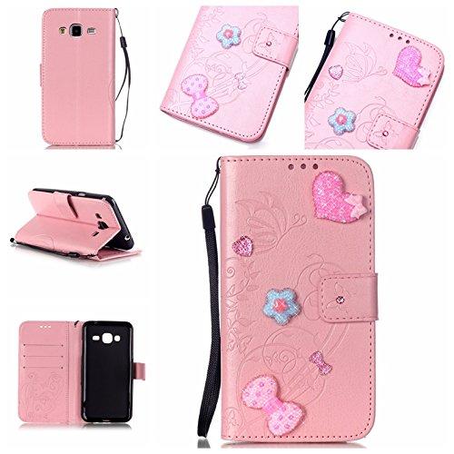Ecoway Caso / copertura / Telefono / sacchetto per Samsung Galaxy J1 Adesivi amore 3D intarsiato Bling Rhinestones di scintillio rombi goffratura copertura di cuoio del foglio di disegno PU in stile d rose