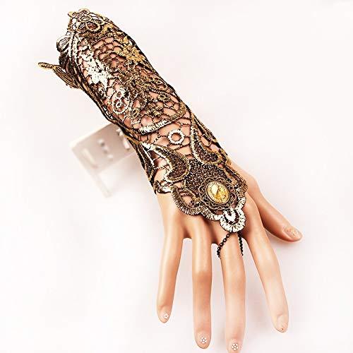 1 par de mujeres estilo steampunk encaje sin dedos largos guantes de encaje hueco-hacia fuera pulsera de cadena antideslizante guantes góticos Guantes de trabajo (Color : Metallic)
