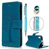 iAdvantec Wiko Lenny 4 Hülle Case, Filp PU Leder Wallet Handyhülle Flipcase : Bookstyle Eulenbaum Tasche Brieftasche Schutzhülle in Blau + Anti Staub Stöpsel + Stylus
