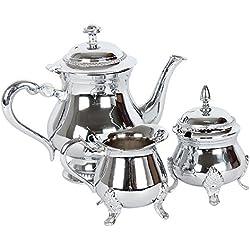 albena shop 73-130 Meyza servicio de té (oriental tetera azucarero jarra de leche) cromada latón