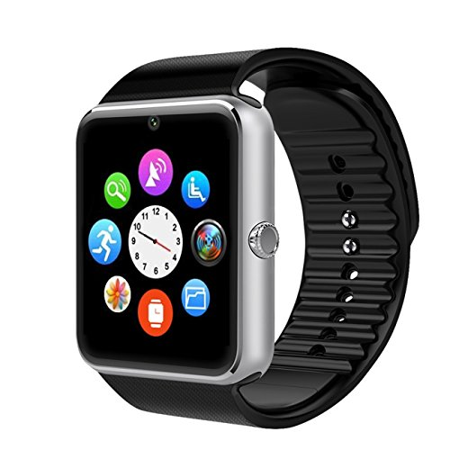 Montre Smart Watch Phone,Willful Bluetooth Montre téléphone portable avec appareil photo, carte SIM / TF Card Slot, NFC, MP3, Appel / SMS / Twitter / Facebook Push, Fitness Tracker Montre de sport pour Android Phones,Fonctions limitées pour iPhone Argent
